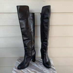 Saks Fifth Avenue Over The Knee Boots Black Lthr